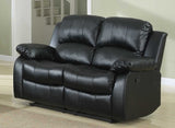 3 Piece Bonded Faux Leather Motion Recliner Sofa, Loveseat, Chair Set, Black (Total 5 Recliners)