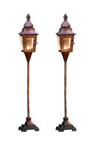 2 Pack Candle Lantern - Floor Standing Metal Candle Lantern with Pedestal Base