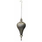 Antique Silver Oriental Metal Hanging Pendant Light Candle Lantern - Large
