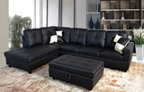 3 Piece Faux Leather Contemporary Left-facing Sectional Sofa Set with Ottoman, 2 Accent Pillows, Black