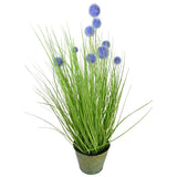 27.5 in. Tall Artificial Onion Grass Plant with Purple Pompom Flowers and Metal Pot