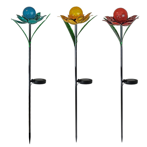 Assorted Solar Metal Flower Garden Stake with Crackle Glass Globe, Set of 3