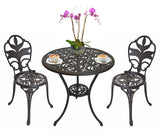 Antiqued Bronze Garden Bistro Set - Table and Two Chairs for Yard, 3 Pieces