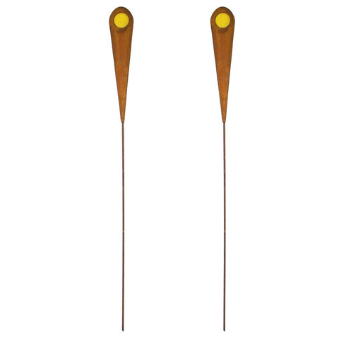 2PK Rustic Metal Garden Picks, Planter Stakes w/ Yellow Glass Accent
