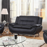 3 Piece Faux Leather Contemporary Living Room Sofa, Love Seat, Chair Set, Black