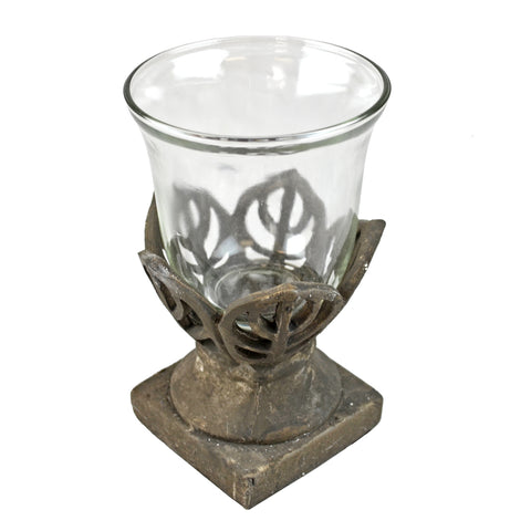 Stone Flower Accent Vase - Table Top Candle Lantern in Flower Design