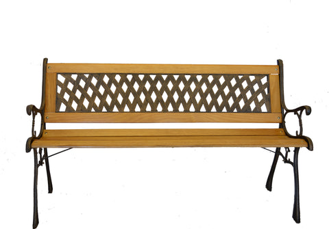 Basket Weave Iron & Wooden Park Bench w/ Resin Back Insert for Yard or Garden V2