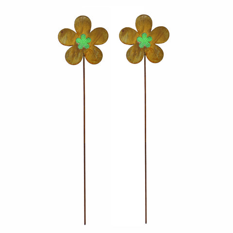 2PK Rustic Flower Metal Garden Picks with Green Glass Center