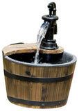 Wood Barrel with Pump Patio Water Fountain - Small Garden Water Fountain