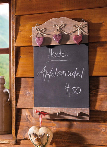 16 in Charming Wood Chalkboard w/ Hooks and Pink Hearts