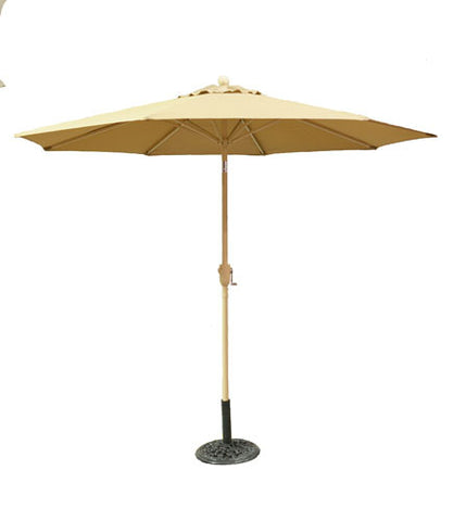 9 ft Taupe Aluminum Patio Market Umbrella with Crank and Tilt