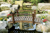 Rustic Wood Garden Bridge with Posts and Wooden Hand Rails
