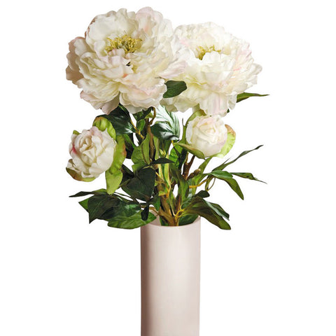 Artificial White Peonies with Open and Closed Buds, Set of Two