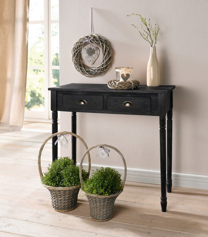 Antique-Style 2 Drawer Wood Console Table w/ Brass Finish Handles - Black