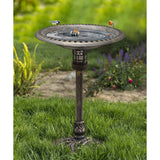Solar Lighted Bird Bath for Yard and Garden - Antique Brushed Bronze