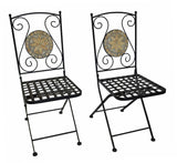 "Metal Foldable Bistro Chair ""Mosaic Stars"", Set of 2"