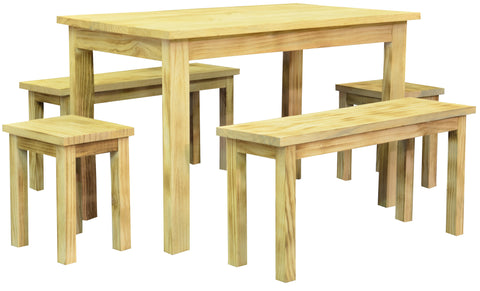 5pc Wooden Rectangular Dining Set with Table, Benches, Stools - Natural Wood