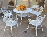 Antique Victorian Cast Aluminum Patio Dining Chairs - White Heart, Set of Two