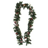 8.8 Foot Christmas Garland with Decorative Berries,Bows,Twigs,Pine Cones,Textile Boots/Hats