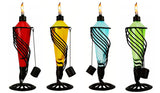 4 Pack 13 in. Assorted Color Table Top Torch with Swirl Accent Metal Stand - Burning Citronella/Lamp Oil
