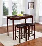 3 Piece Counter Height Faux Marble Top Breakfast Bar Set, Espresso Finish