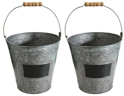 9.5 in Decorative Metal Garden Bucket with Wood Handle, Set of Two