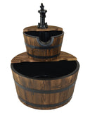Water Fountains Outdoor Wood Barrel with Pump - Medium Size Garden Water Fountain Product SKU: PL50066