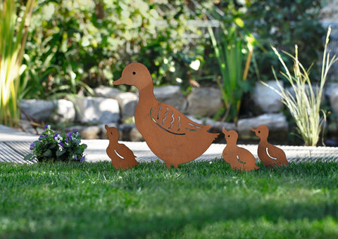 Duck Family Metal Garden Stake, Yard Art, Set of 4