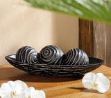Carved Decorative Balls with Oval Display Stand - Black, Set of Three