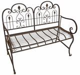 Provence Metal Folding Garden Bench Seat - Warm Brown (Cushion not Included)