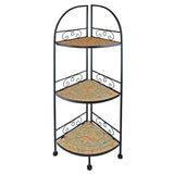 "44 in Metal Foldable Mosaic Shelf  - Decorative Corner Rack ""Mosaic Star"""