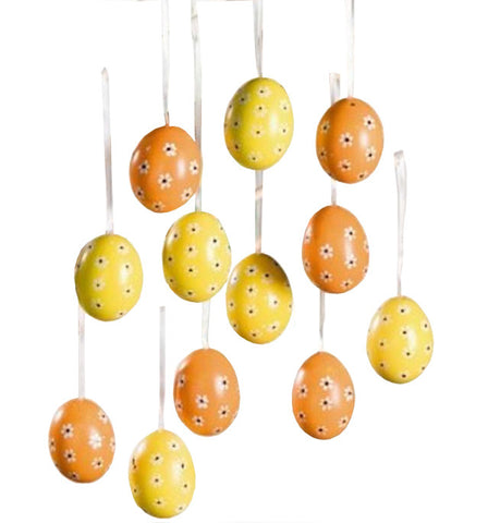 Decorative Yellow / Orange Eggs in Sectioned Box, Set of Twelve