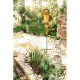 Rustic Metal Garden Pick, Planter Stakes w/ Yellow Glass Accent