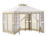 10 ft. x 10 ft. Outdoor Double Roof Steel Gazebo with Beige Canopy and Mosquito Netting