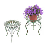 "2PK 13"" Round Metal Plant Stand w/ Peacock Tail Motif and Curved Legs"
