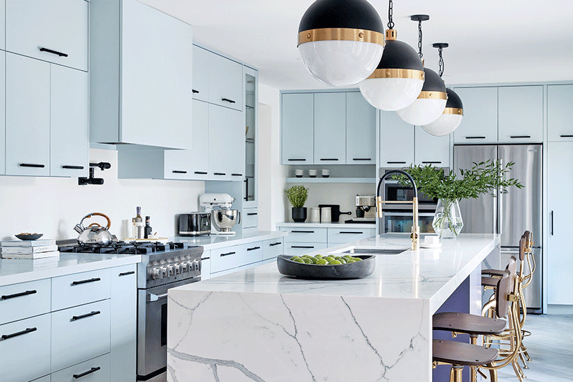 Icy Blue Cabinetry And A Marble-look Island Give This Kitchen A Retro Chic Look