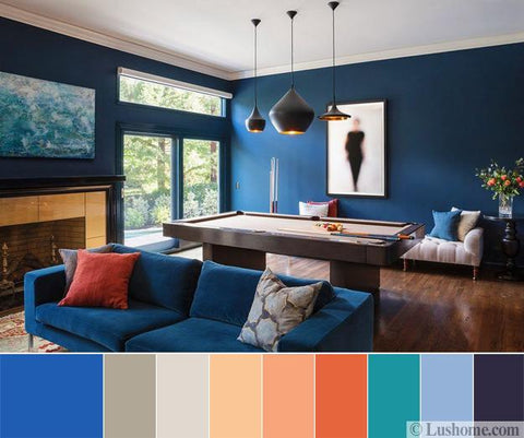 Blue, Turquoise, Orange, Peach And Gray Color Tones
