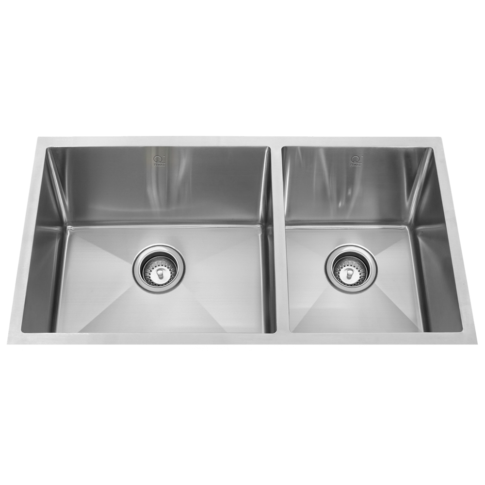 9b4600bd28 QILA - SL 16 Gauge Double Offset Bowl Stainless Steel Kitchen Sink ...