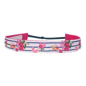Stripe and Flower ~  Performance Adjustable Headband Hair Band For Women