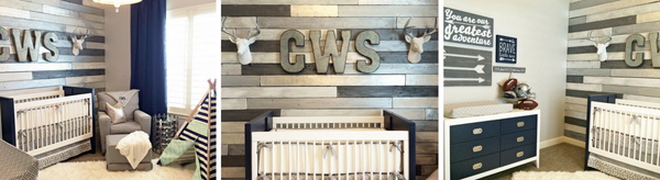 Cash's Metallic Wood Wall Nursery