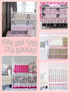 Pink and Grey Crib Bedding