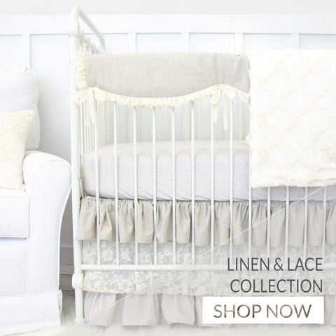 Shop our entire Linen & Lace Crib Bedding Collection