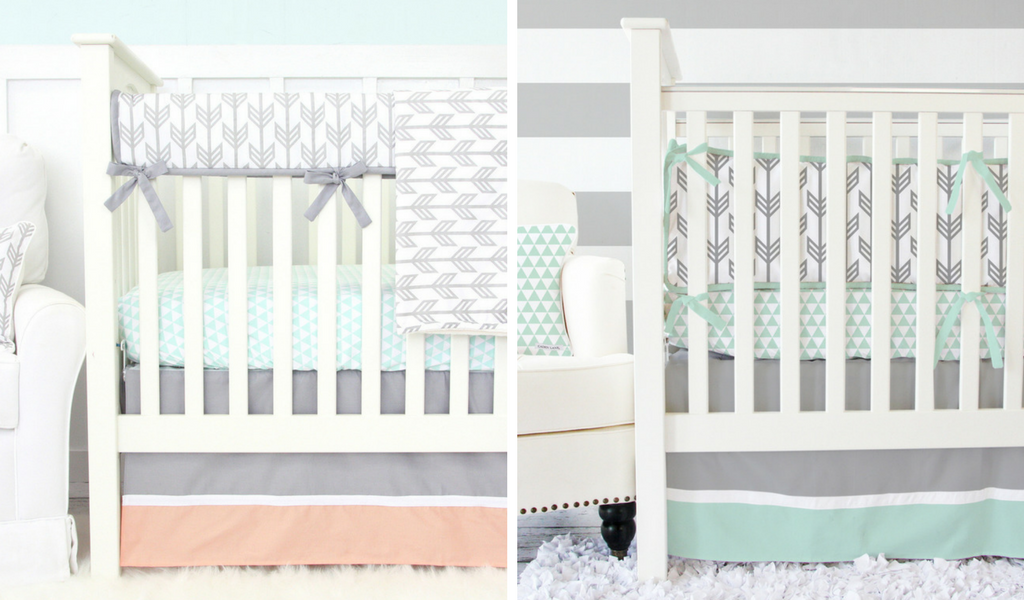 Exclusive Arrow Nursery Baby Bedding in Coral and Mint