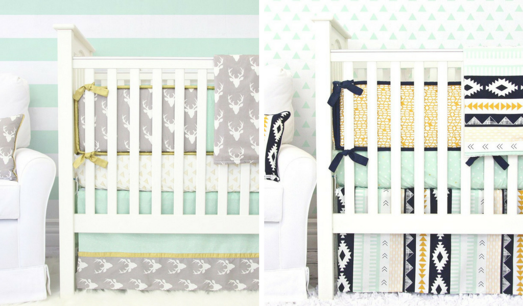 Mint and Gold Baby Crib Bedding