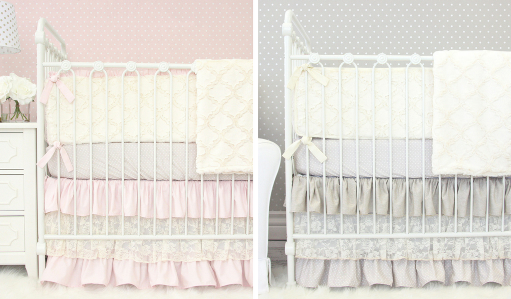 twin girl coordinating crib bedding sets in linen lace ivory blush and taupe, ruffle crib bedding for a twin girl nursery design