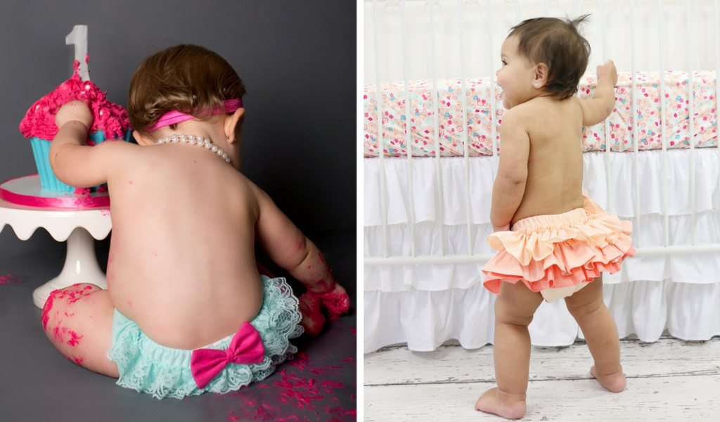 Ruffle Diaper Covers at a Baby Girl's 1st Birthday Photo Shoot