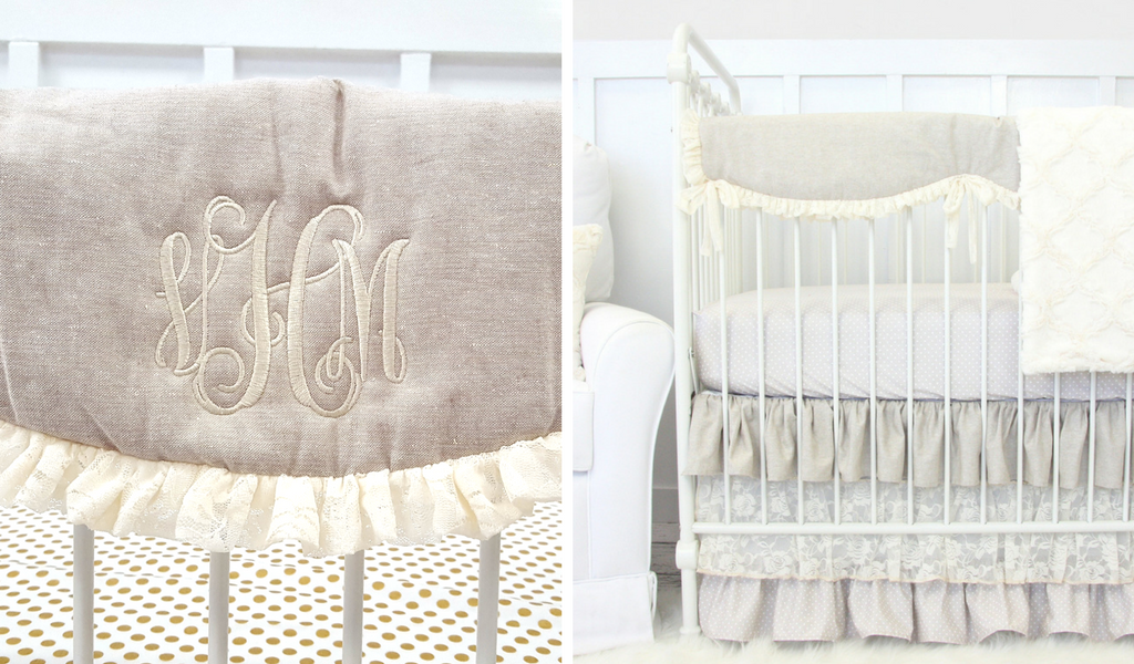 monogrammed crib rail cover for personalized baby bedding
