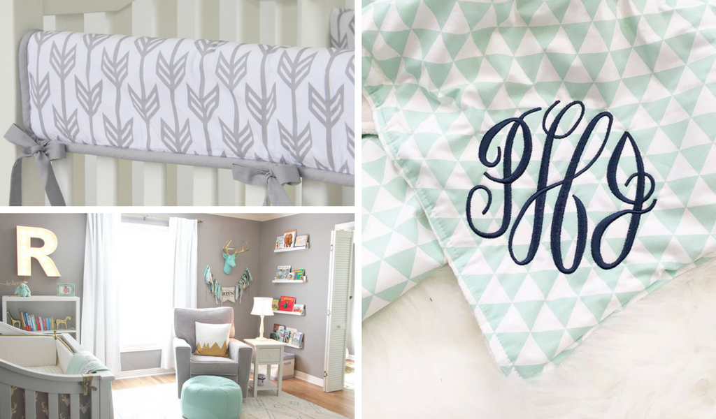Gray Arrow crib rail cover, mint triangle crib blanket, and woodlands nursery design for a rustic nursery