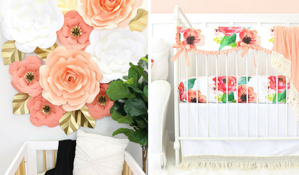 coral paper wall flowers paired with boho chic floral crib bedding