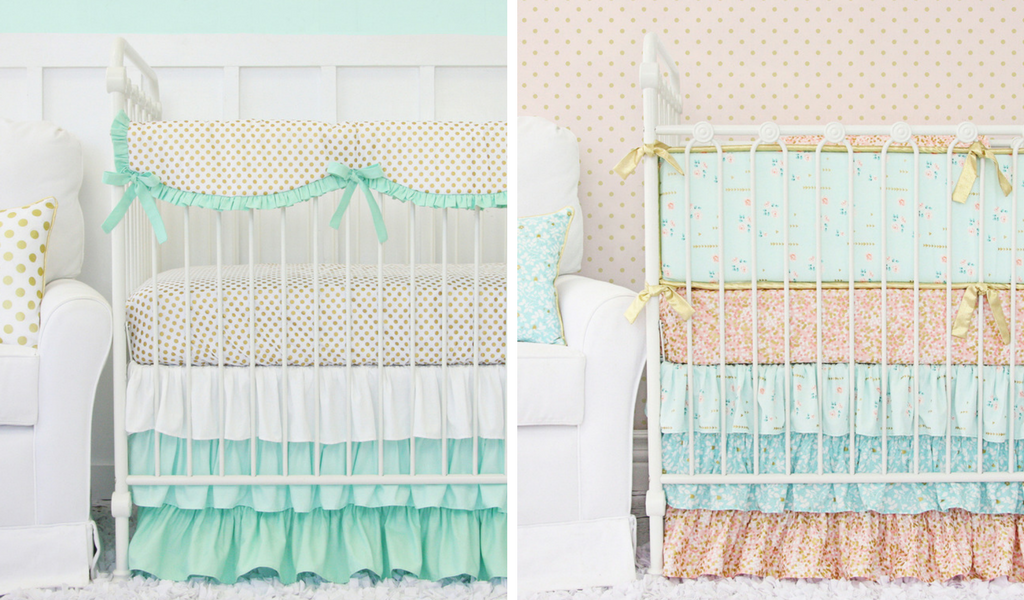 Mint, Gold and Coral Nursery Bedding